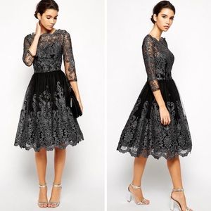 1X Black Mesh Tulle Silver Damask A-Line Dress